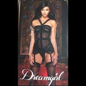 NWT HTF Dreamgirl Strappy Sexy Mesh Elastic Teddy
